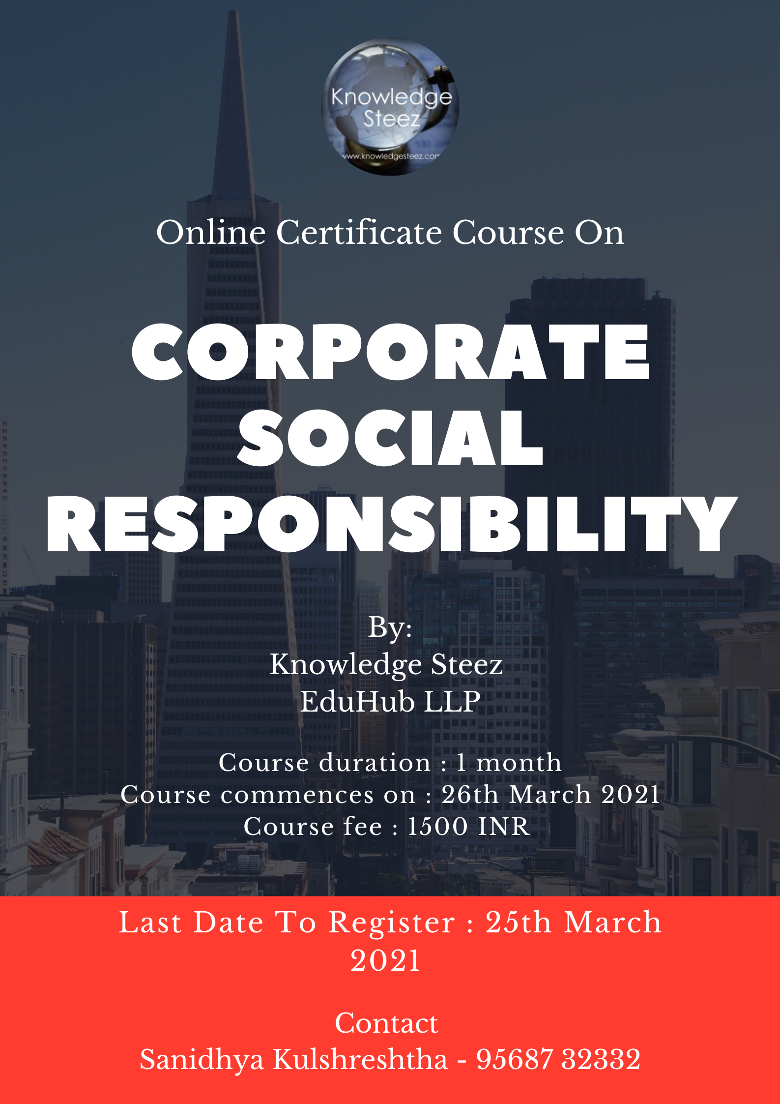 Online Certificate Course on Corporate Social Responsibility (Register by 25th March 2021)