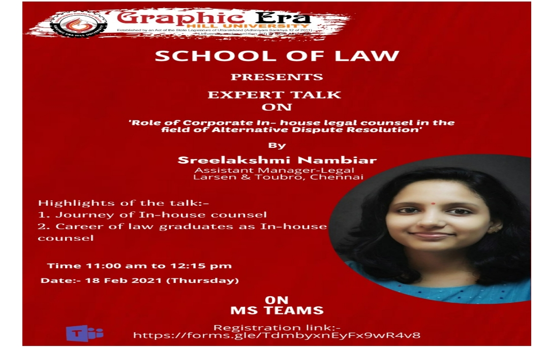 Expert Talk on 'Role of Corporate In-house Counsel in the field of Alternative Dispute Resolution'