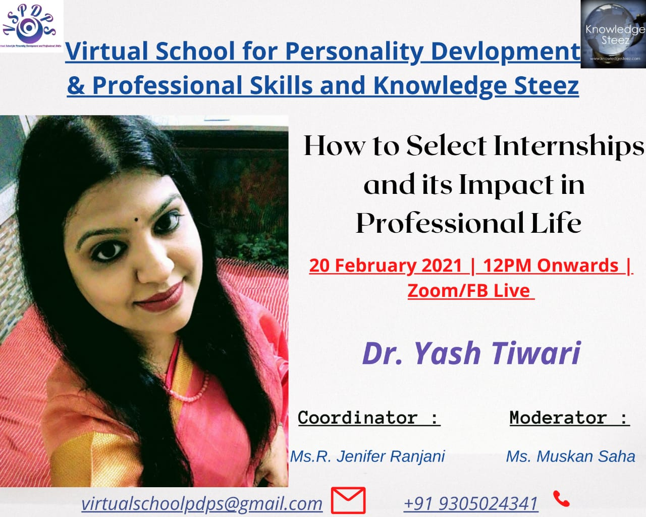 """Webinar on """"How to select Internships and its Impact on Professional Life"""" on 20th February 2021"""