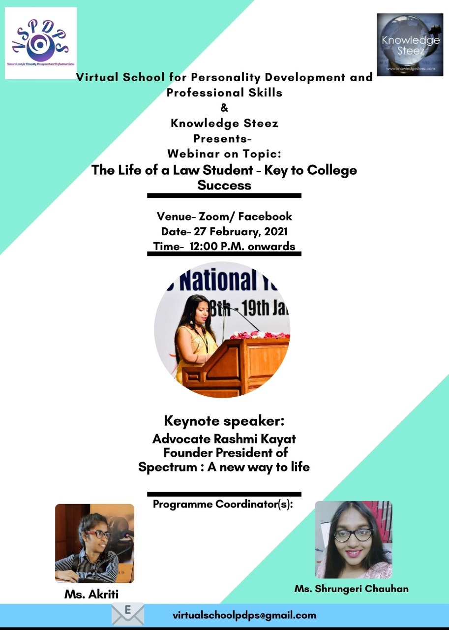 Webinar on Topic The Life of a Law Student – Key to College Success