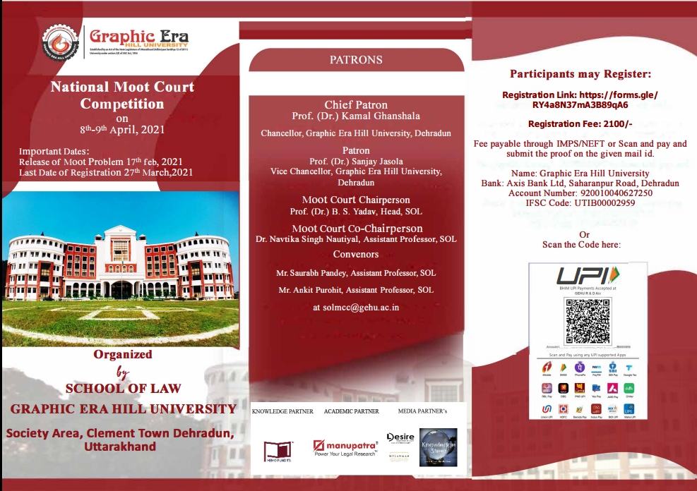 1st National Virtual Moot Court Competition by Graphic Era Hill University, Dehradun