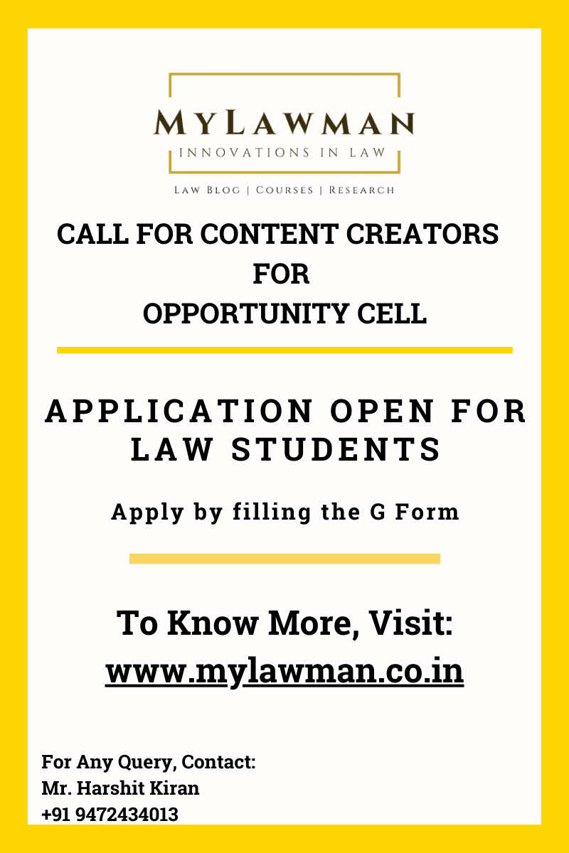 [Call for Application] Call for Student Coordinator for Opportunity Cell at MyLawman [Apply by 25 March 2021]