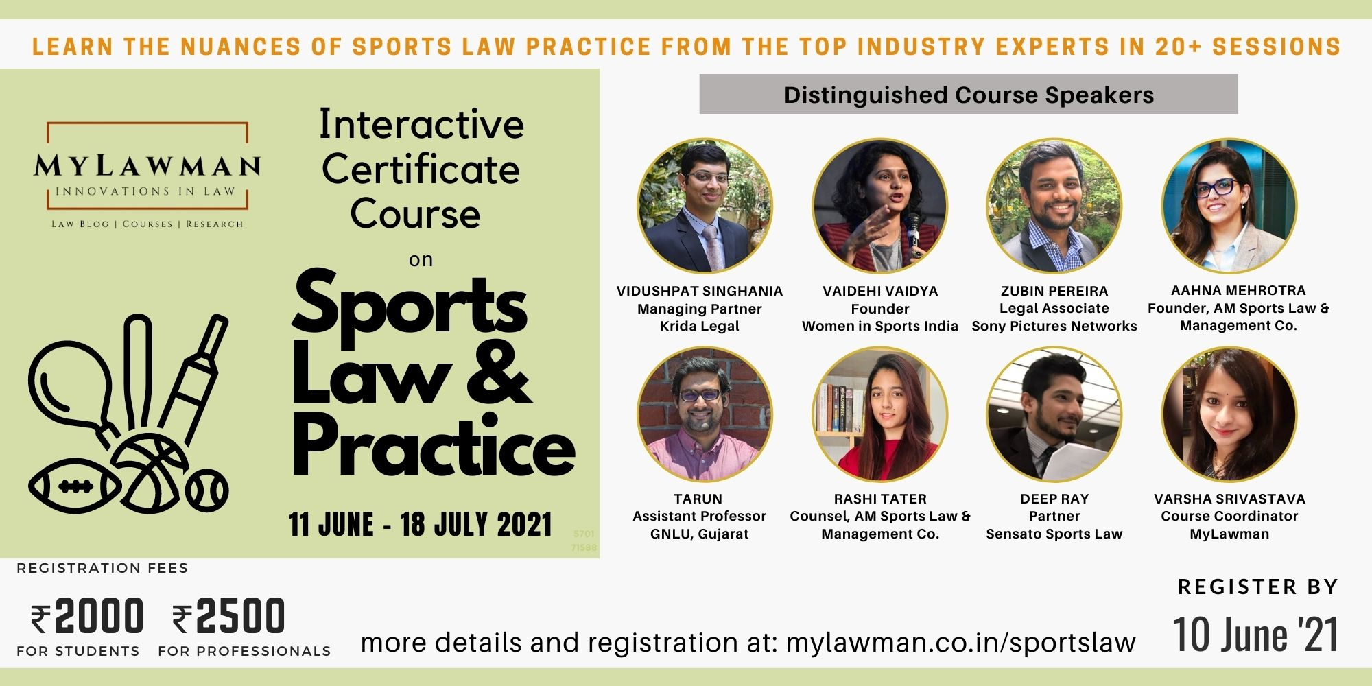 [Online] Interactive Certificate Course on Sports Law & Practice by MyLawman [Register by 10 June]