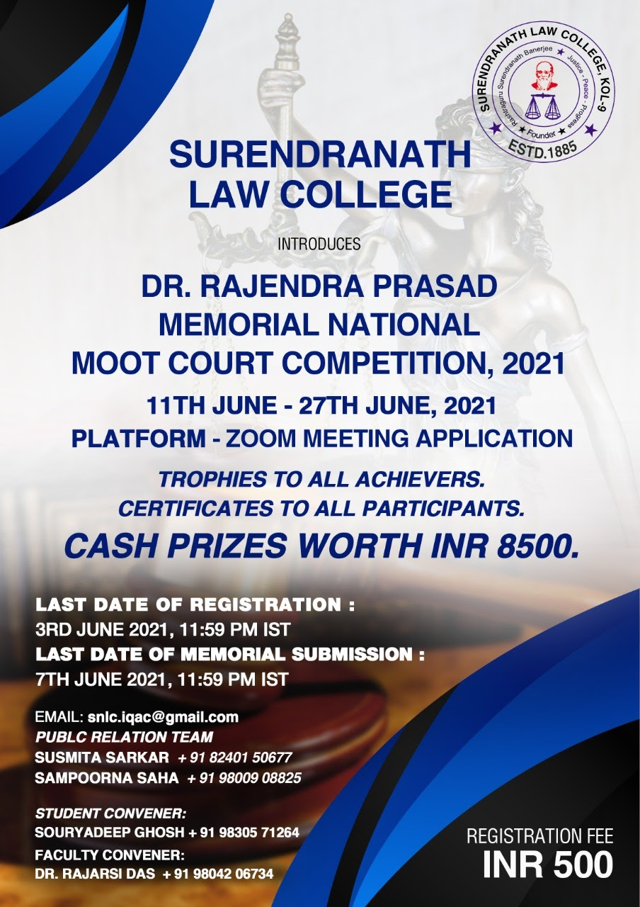 National Moot Court Competition, 2021 [Online] by Surendranath Law College [June 11-27]: Register by June 1