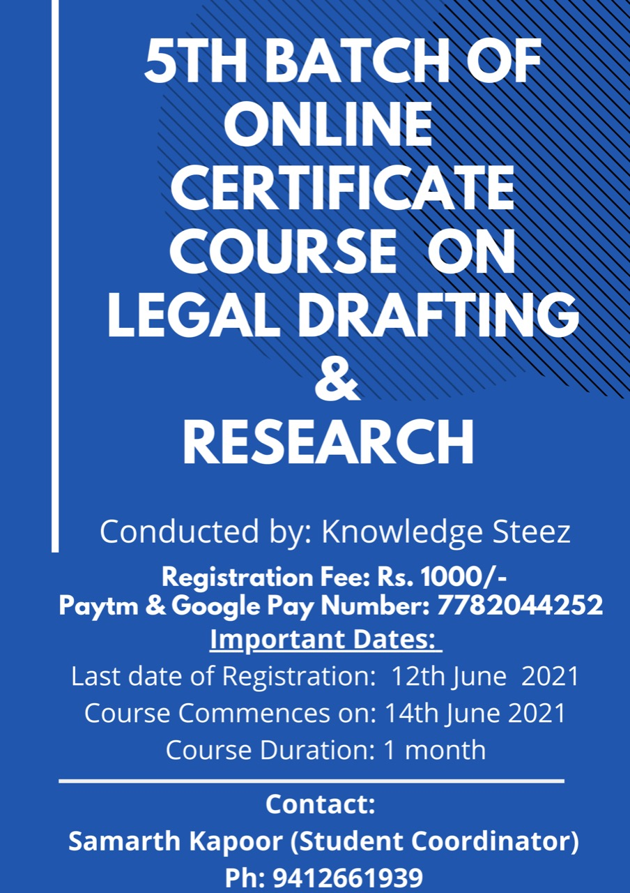 Certificate Course on Legal Drafting by Knowledge Steez EduHub LLP (Register by 12th June 2021)