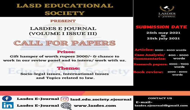 Call for Papers: Lasdes E-Journal (Volume I Issue III): Submit by 25 July 2021