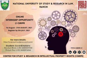 Internship Opportunity @CSRIPR   NUSRL, Ranchi   August 2021 (4 Weeks)   Apply by July 5