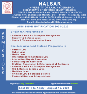 Diploma Programmes and M.A. Programmes by NALSAR