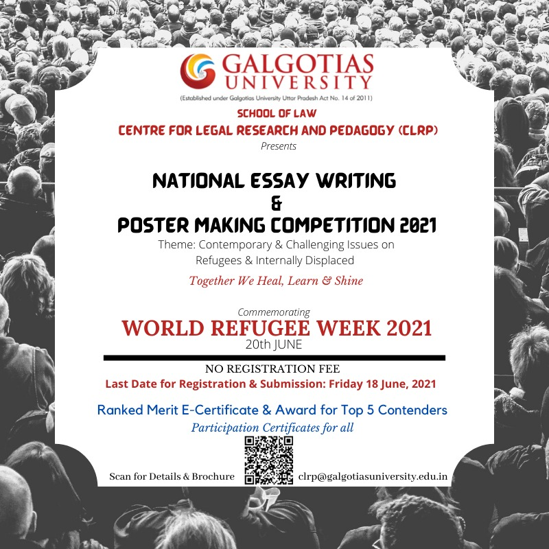 National Essay Writing & Poster Making Competition 2021, Presented by School of Law Centre for Legal Research & Pedagogy, Galgotias University.