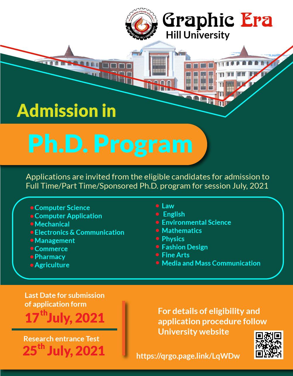 Admission Notification: Ph.D. Program July 2021