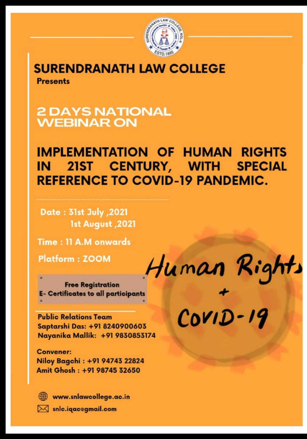 TWO DAYS NATIONAL WEBINAR ON IMPLEMENTATION OF HUMAN RIGHTS IN 21ST CENTURY, WITH  SPECIAL REFERENCE TO COVID-19 PANDEMIC