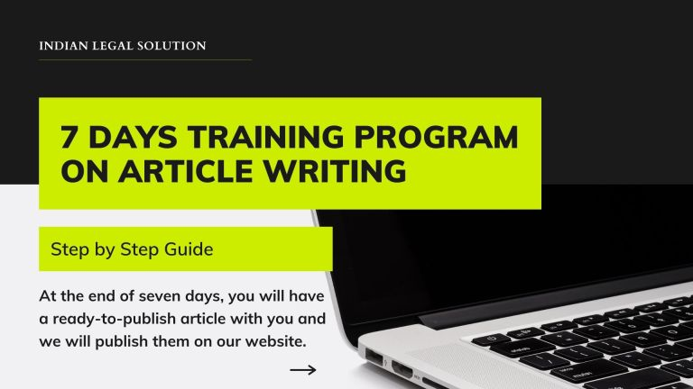 7 Days Training Program on Legal Article Writing with Money Back Guarantee.