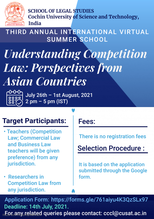 THIRD ANNUAL INTERNATIONAL VIRTUAL SUMMER SCHOOL- Understanding Competition Law: Perspectives from Asian Countries