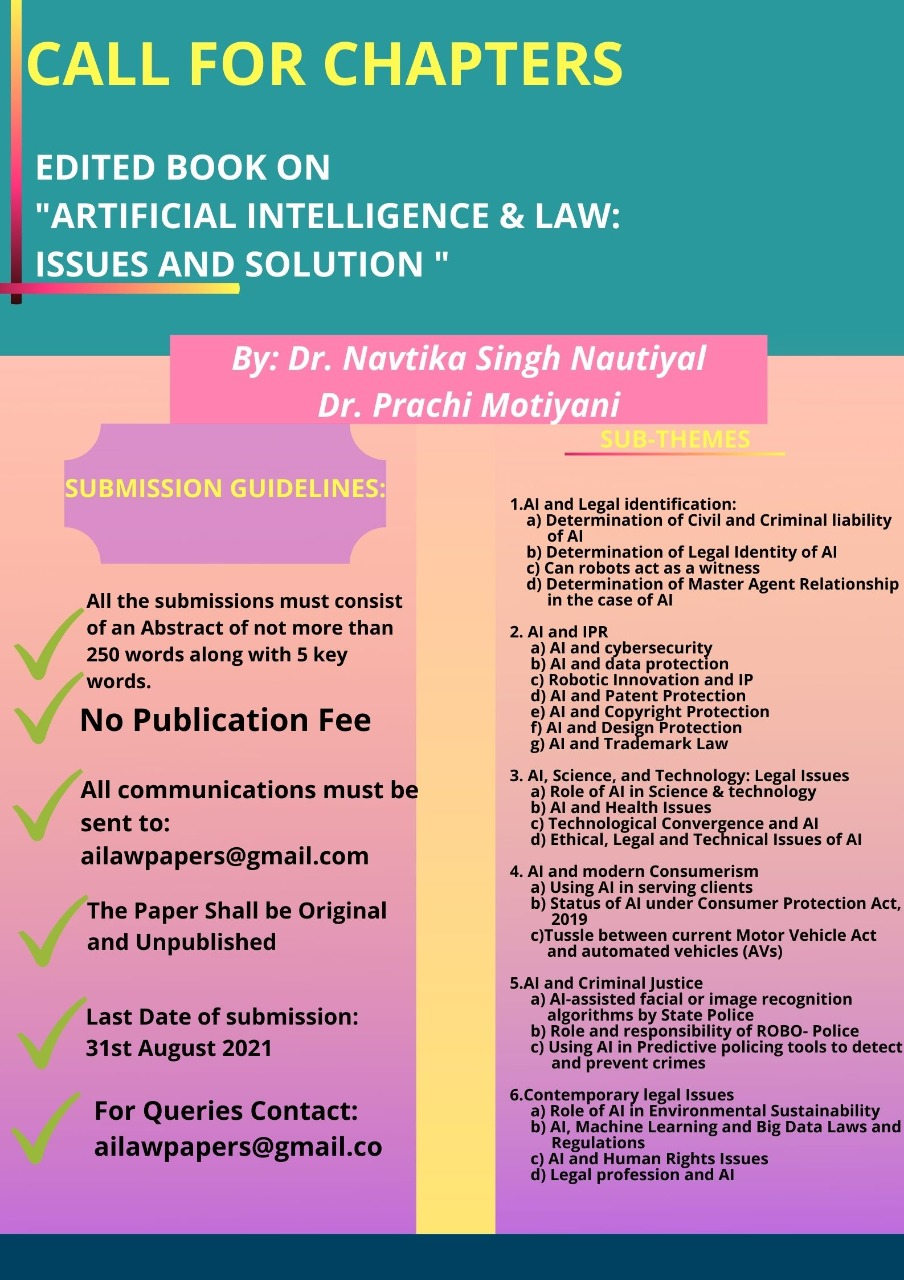 CALL FOR CHAPTERS IN EDITED BOOK ON Artificial Intelligence & Law: Issues and Solution