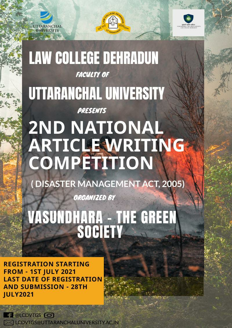 SECOND NATIONAL ARTICLE WRITING COMPETITION BY Law College Dehradun