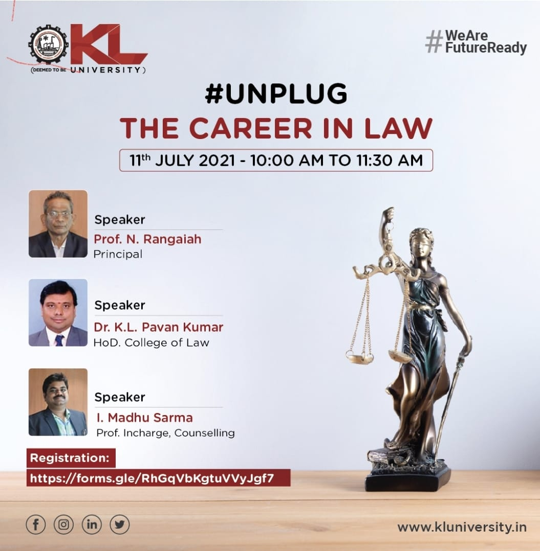 """Webinar on """"The Career opportunities in Law"""" 11th July 2021."""