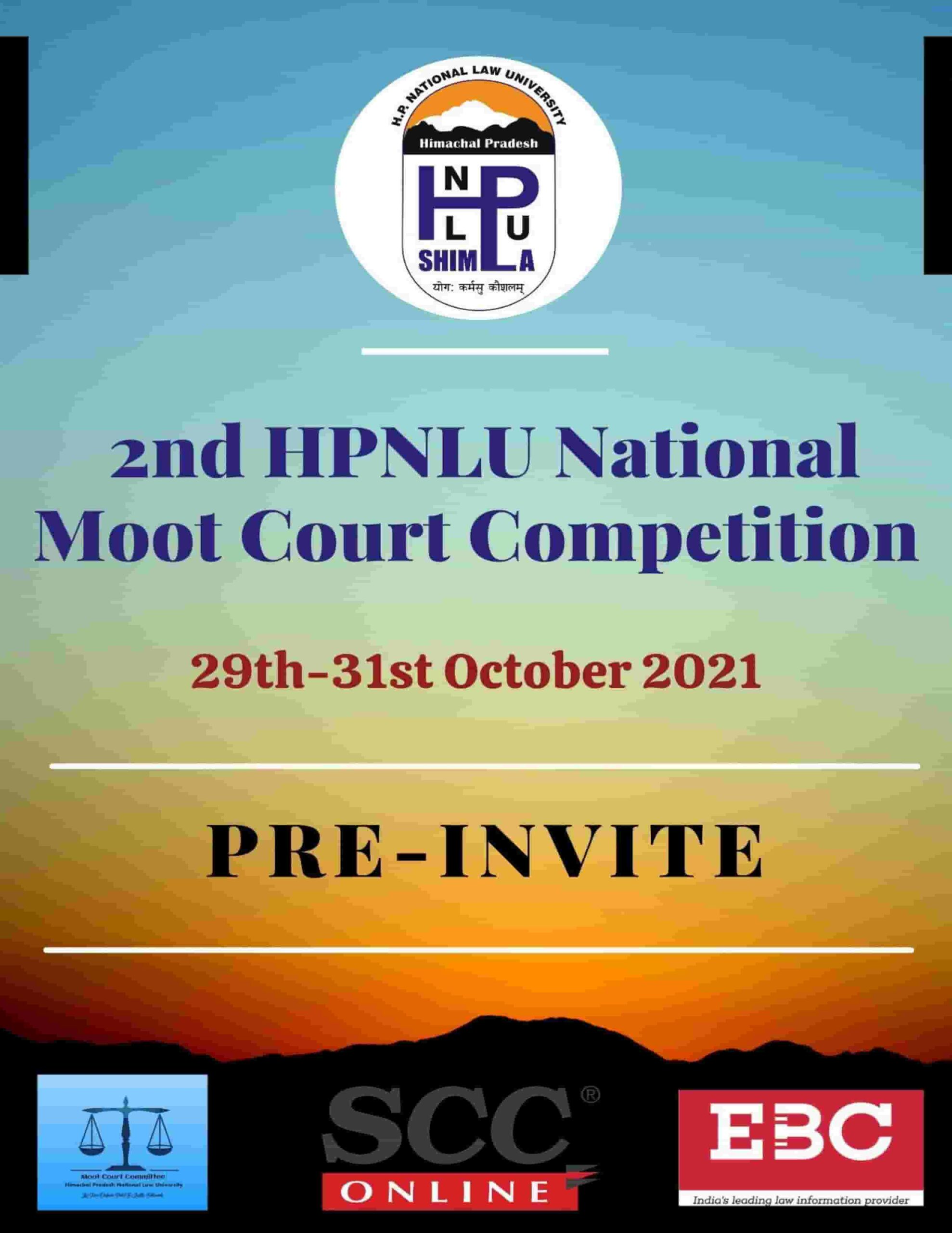 HPNLU National Moot Court Competition [October 29-31, 2020]: Registrations Open