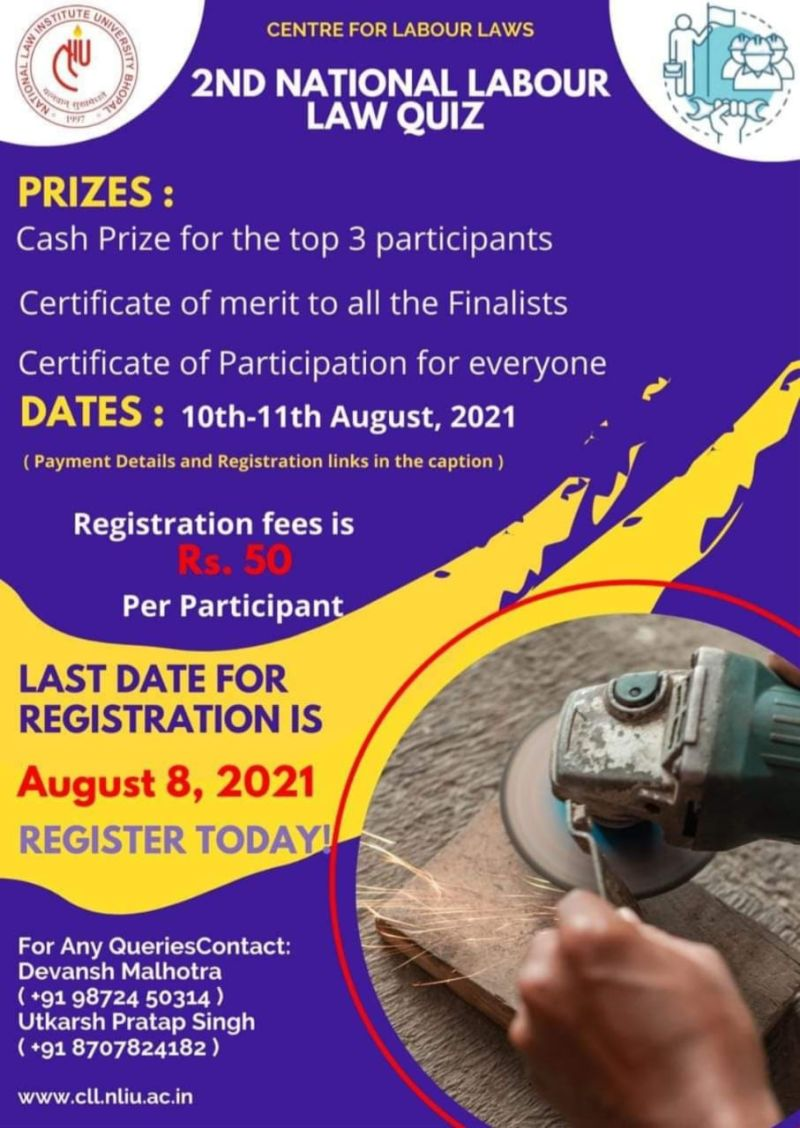 Online Quiz Competition by NLIU's Centre for Labour Laws: Register by Aug 8