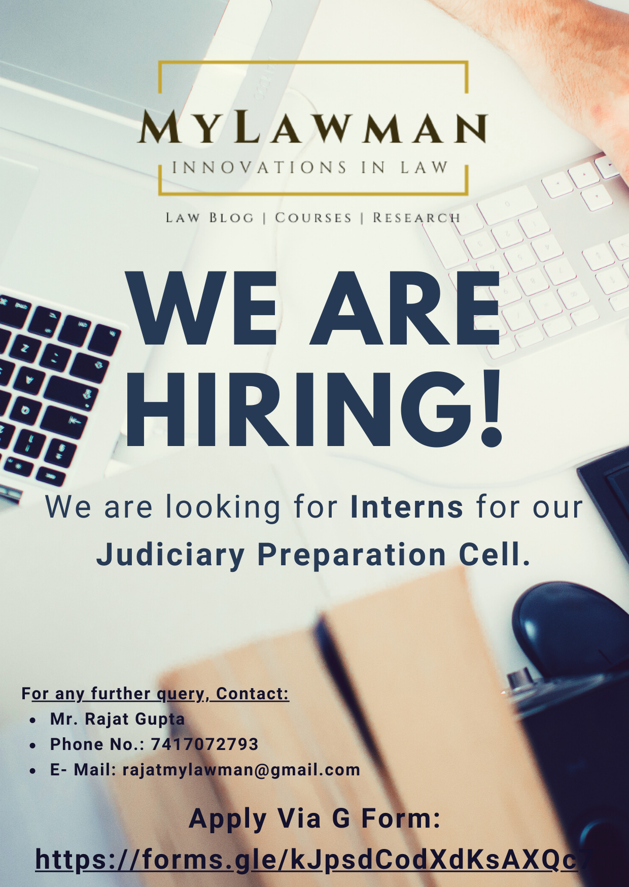 [Internship Opportunity] Call for Interns for Judiciary Preparation Cell at MyLawman [Apply by 24 August 2021]