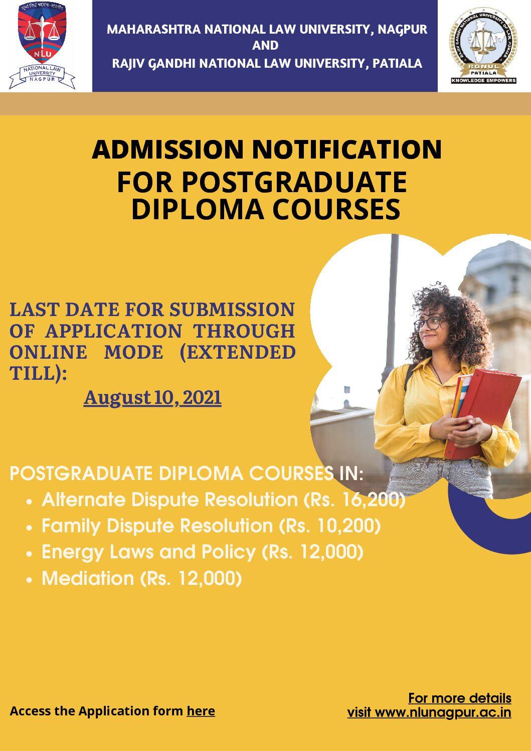 ADMISSION NOTIFICATION FOR POSTGRADUATE DIPLOMA COURSES: Maharashtra National Law University, Nagpur