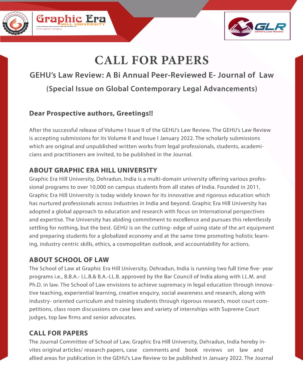 (CALL FOR PAPERS) GEHU's Law Review: A Bi-Annual Peer-Reviewed E-Journal of Law (Special Issue on Global Contemporary Legal Advancements)
