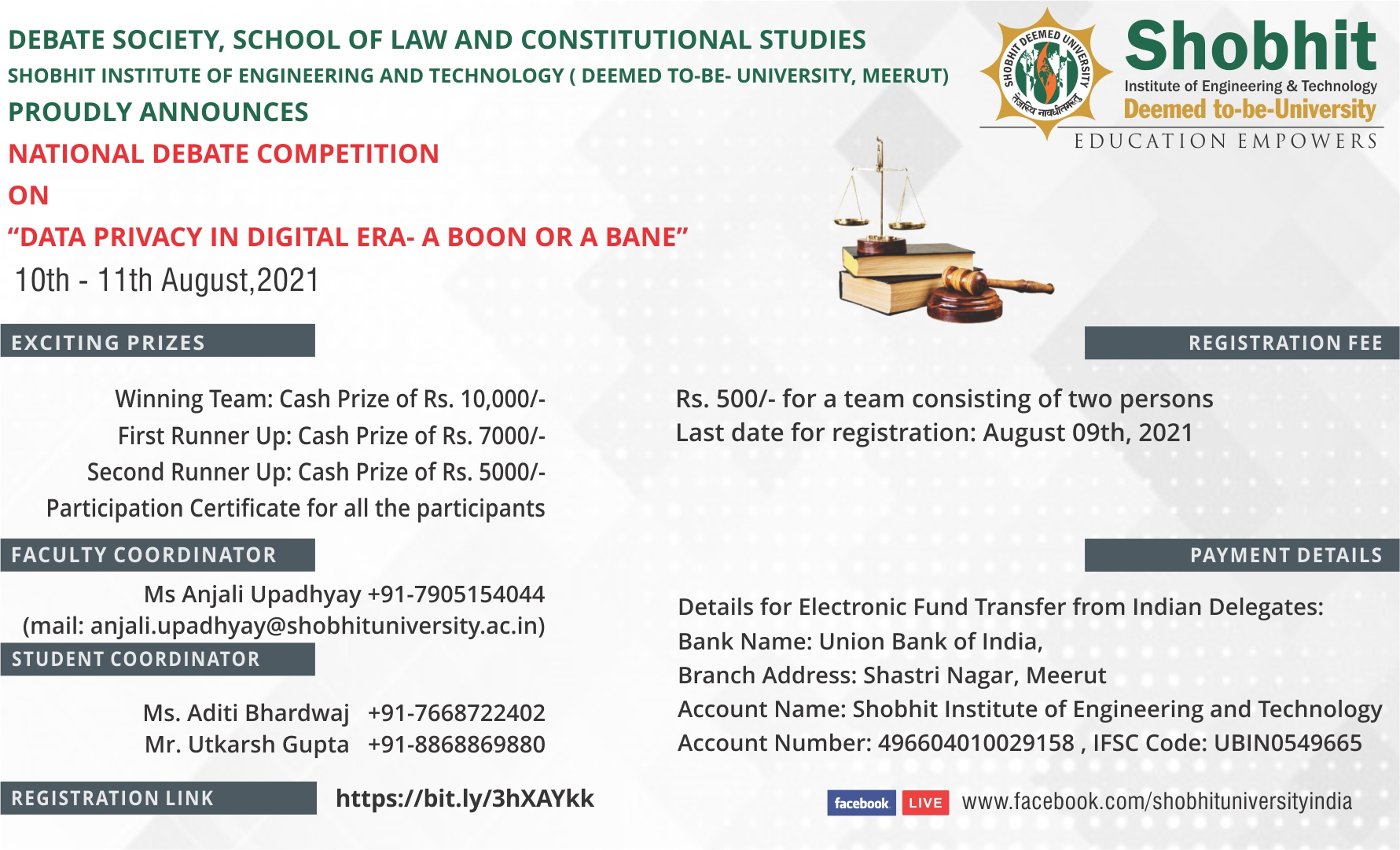Shobhit Institute of Engineering & Technology's Debate Competition on Data Privacy in Digital Era: A Boon or Bane [Aug 10-11]: Register by August 9 (Cash Prizes Worth INR 22k)