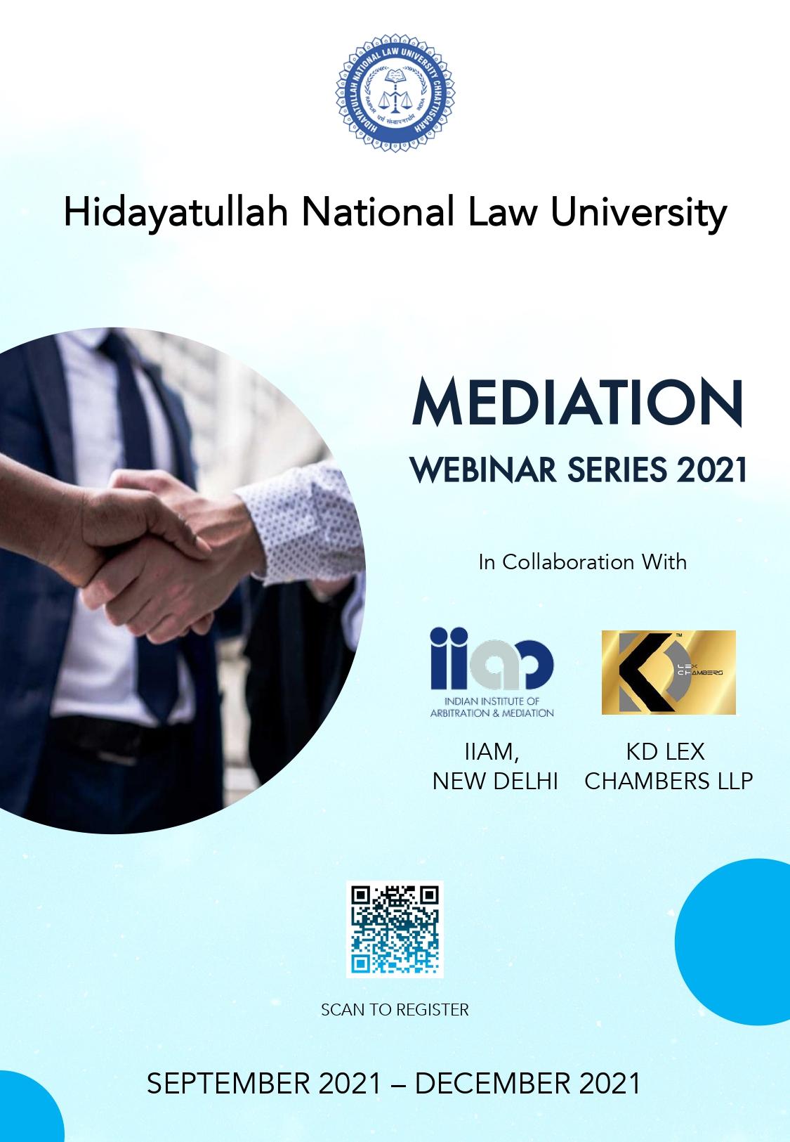 Mediation Webinar Series – HNLU, IIAM & KD Lex Chambers