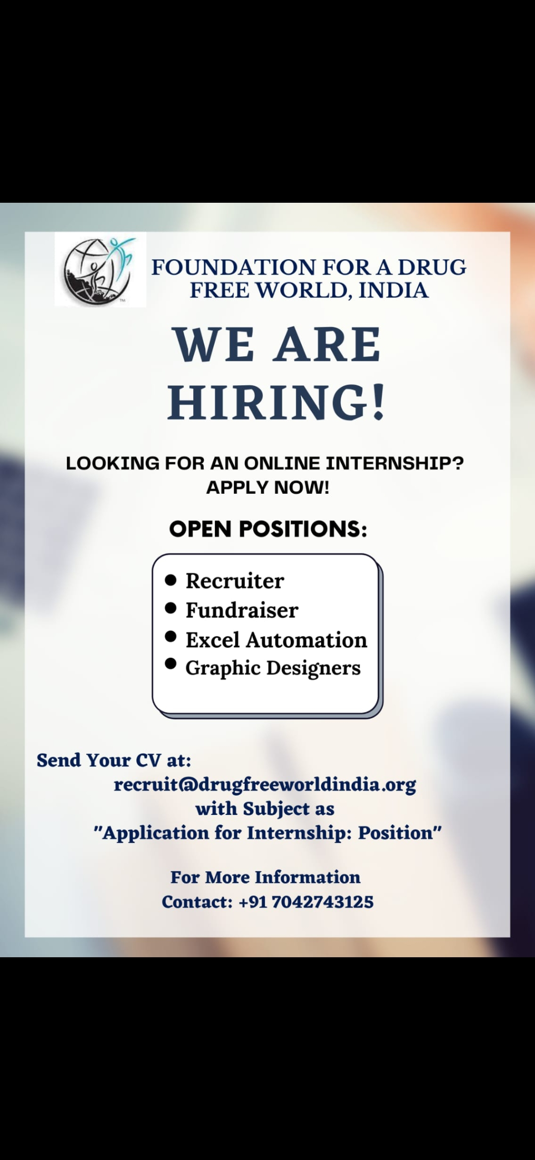 FOUNDATION FOR A DRUG-FREE WORLD, INDIA : We are Hiring