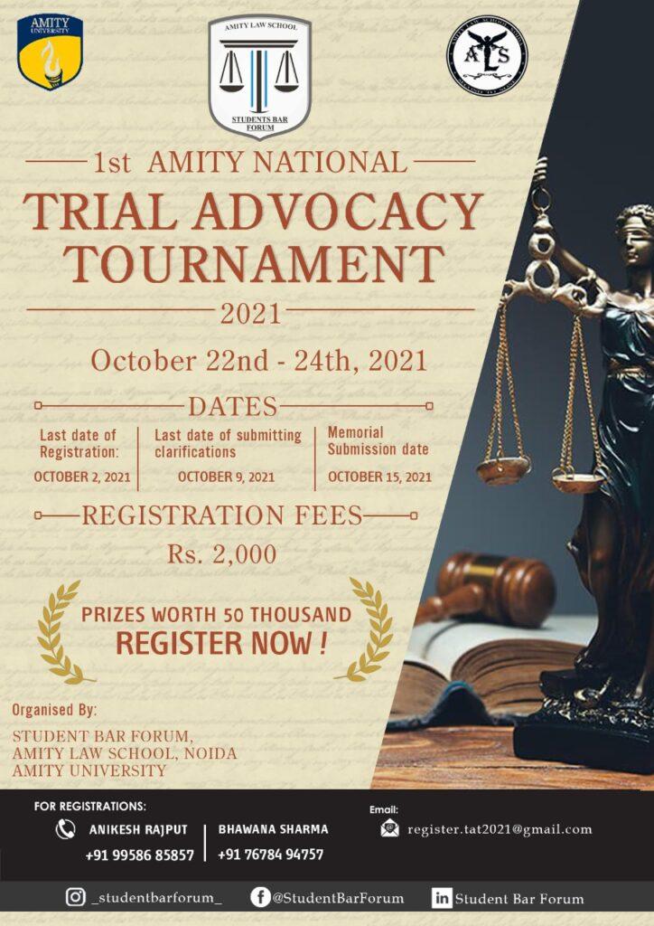 1st Amity National Trial Advocacy Tournament, 2021, Amity Law School's Student Bar Forum