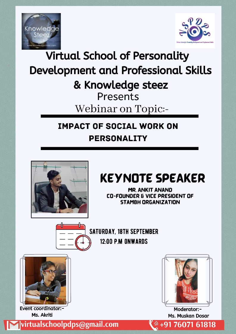 """Webinar on """"Impact of social work on personality"""""""