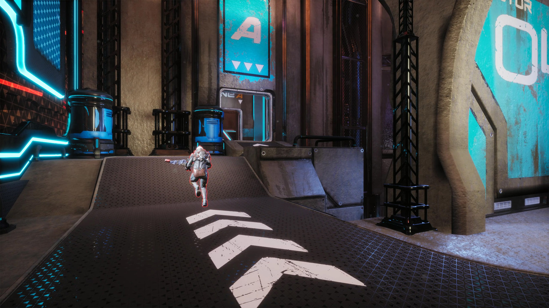 A player running in the map Helix from Splitgate Arena Warfare