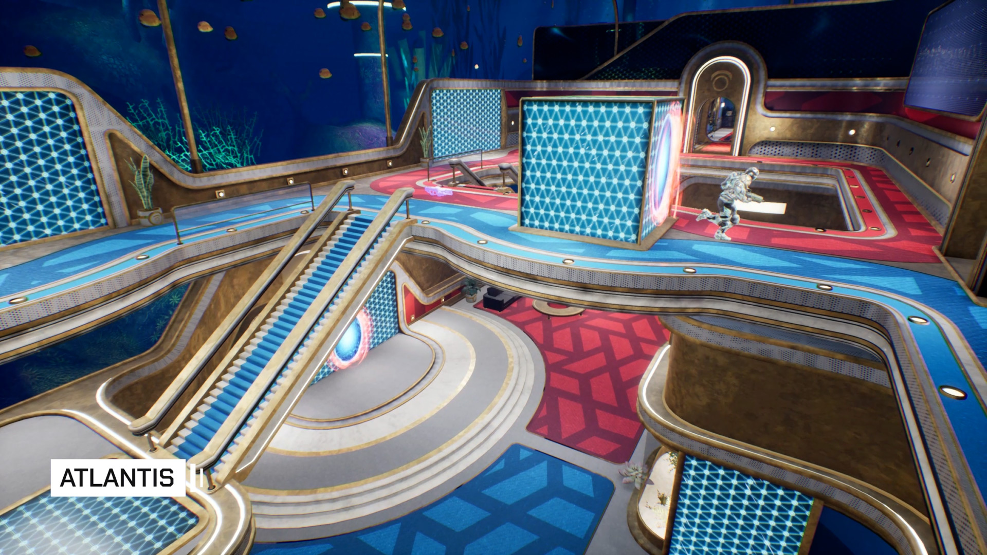 A wide angle shot of a player exiting a portal in Splitgate Arena Warfare