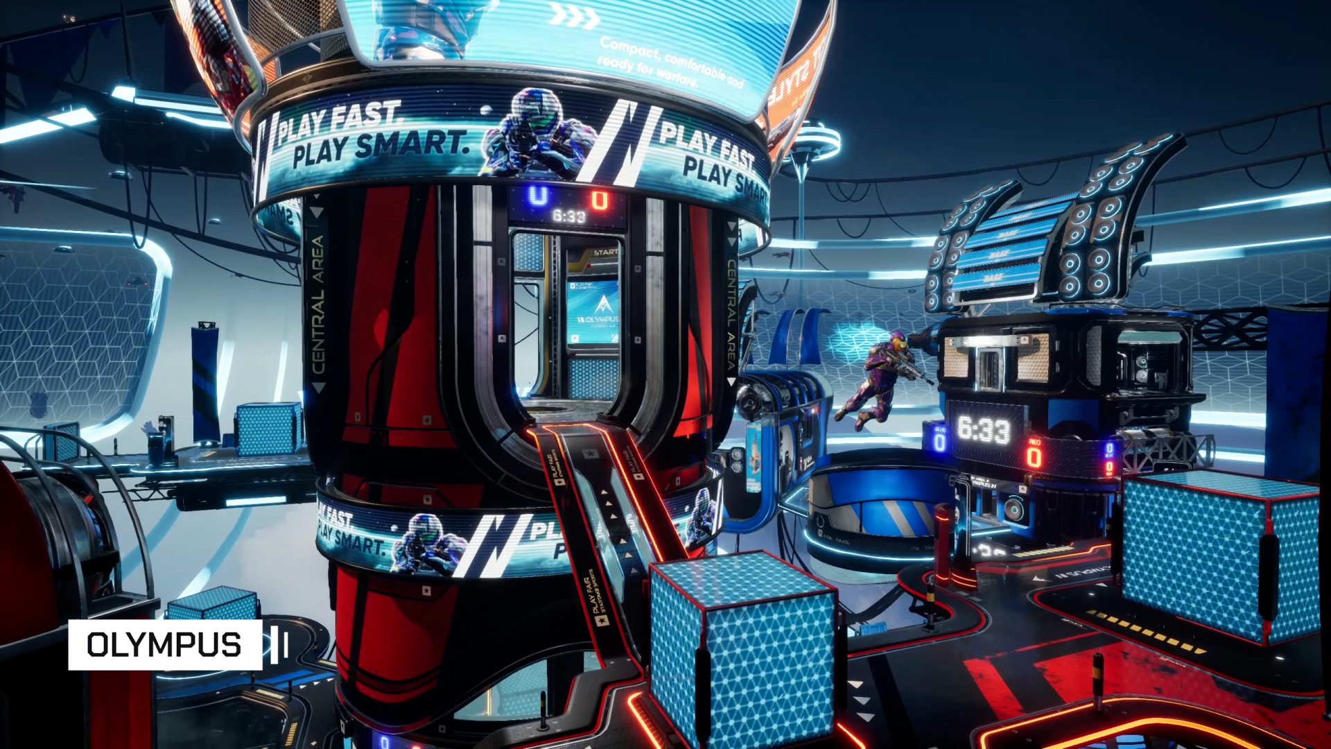 A wide angle shot of the map Olympus in Splitgate Arena Warfare