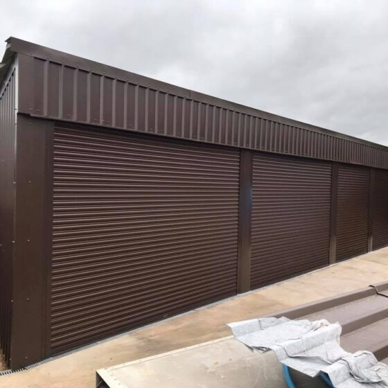 Easy-Roll agricultural automated roller shutter door in brown colour taunton