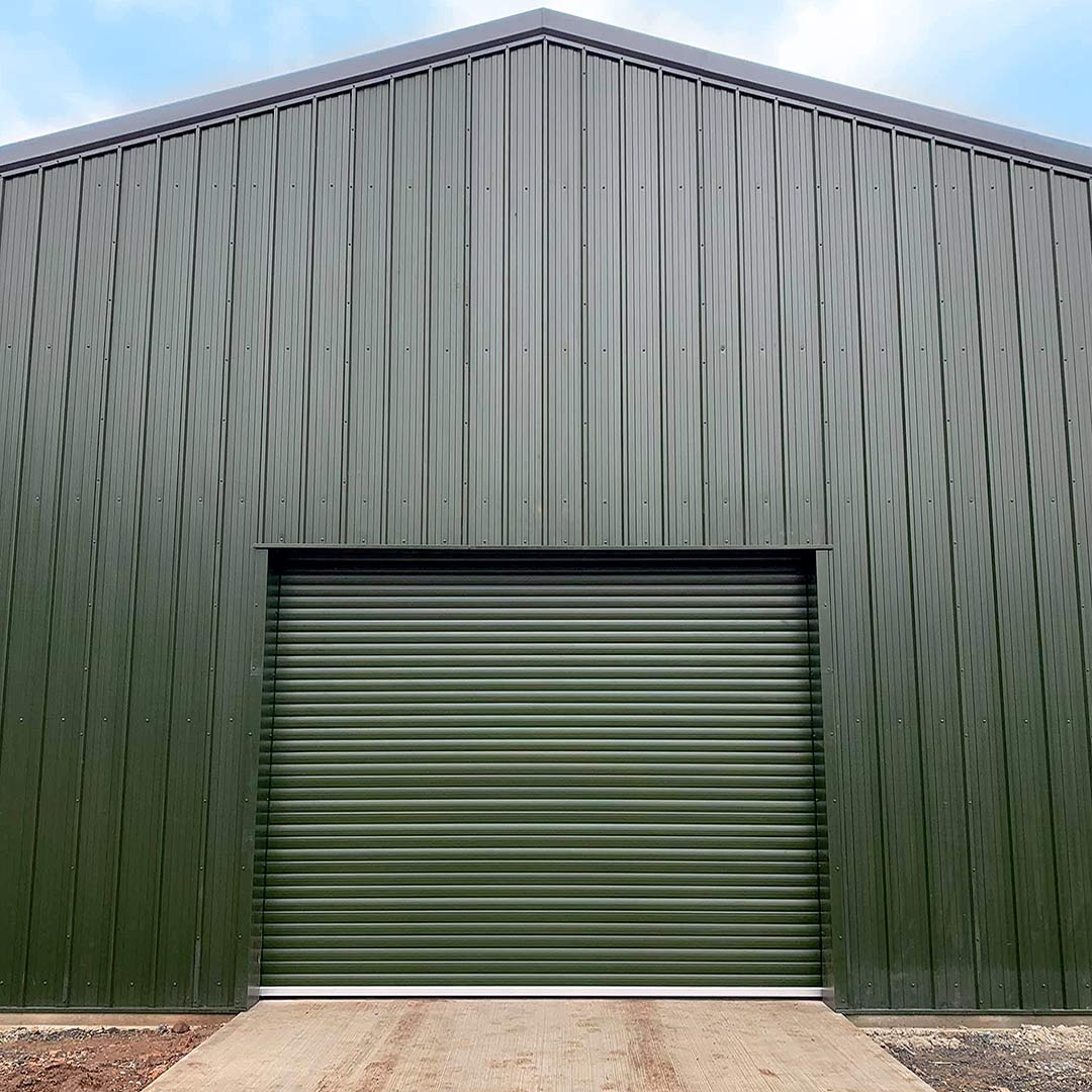 Easy-Roll Agricultural Roller Shutter Door finished in a green colour based in Taunton