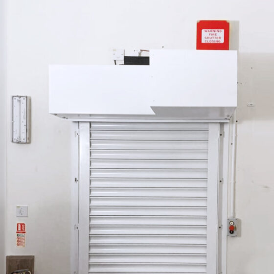 Easy-Roll Internal Roller Shutter Door with safety and emergency features installed in Taunton
