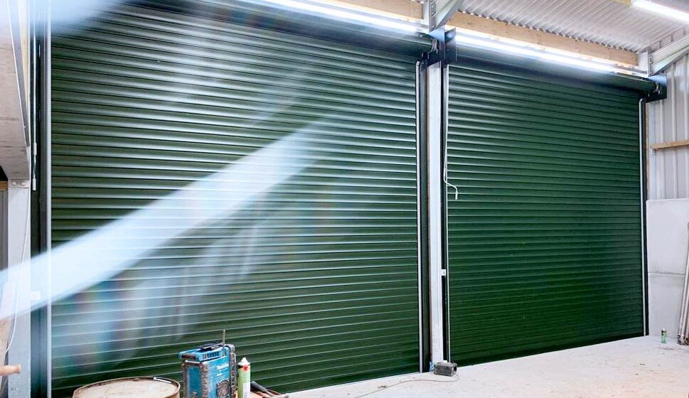 Easy-Roll Taunton Roller Shutter Garage door in green for increased storage space commercial property