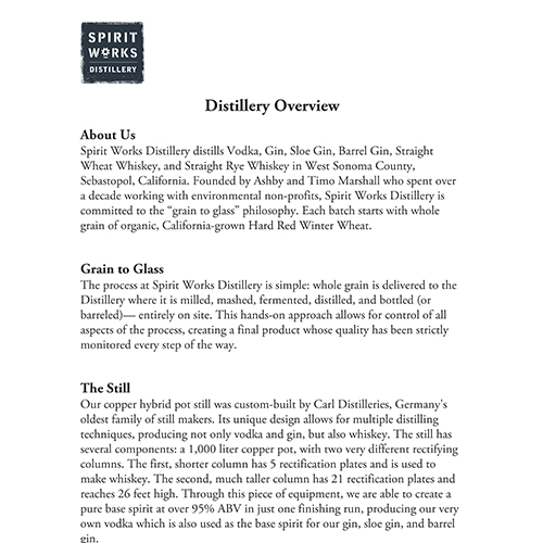 DISTILLERY OVERVIEW