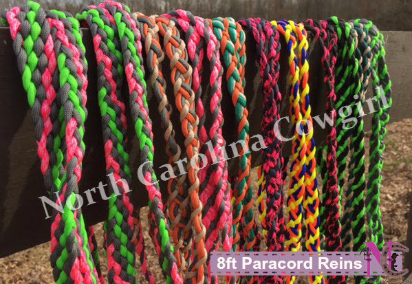 8ft Paracord Reins for Barrel Racing and Trail Riding