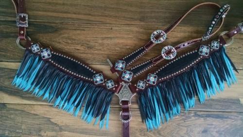 turquoise fringe tack set