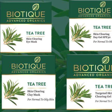 Biotique New Launch Tea Tree Skin Clearing Gel, Skin Clearing Face Mask, Skin Clearing Day Gel SPF30