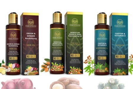 Onion Oil with Ginger, Moroccan Argan Oil with Shea Butter & Castor Oil with Vitamin E Oil for Skin & Hair