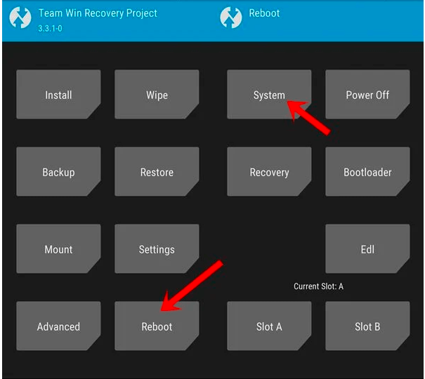 reboot-system-twrp-Install Android 11 on MiA1 official pixel experience rom