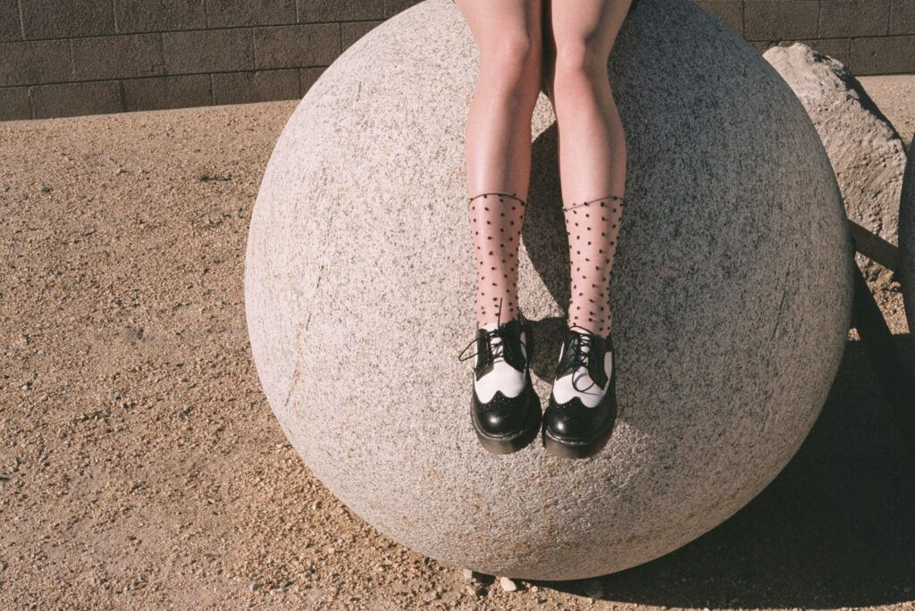 Palm Springs Girl Sitting Shoes Tumblr