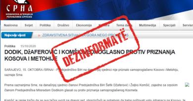 SRNA shpërndau lajm të rremë se kishte votim unanim kundër njohjes së Kosovës nga Bosnja