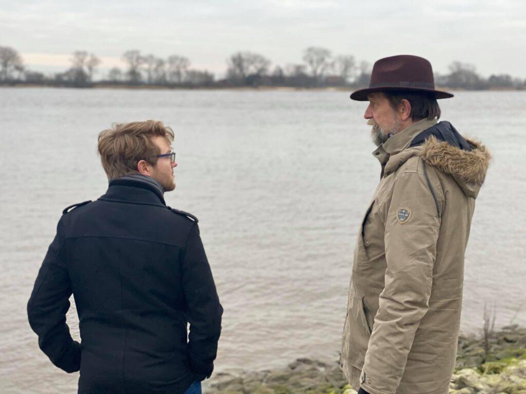 Olli Kreitsmann, Nils Braun, und Nicholas Tamagna (der Fotograf) treffen sich in Elsfleth.