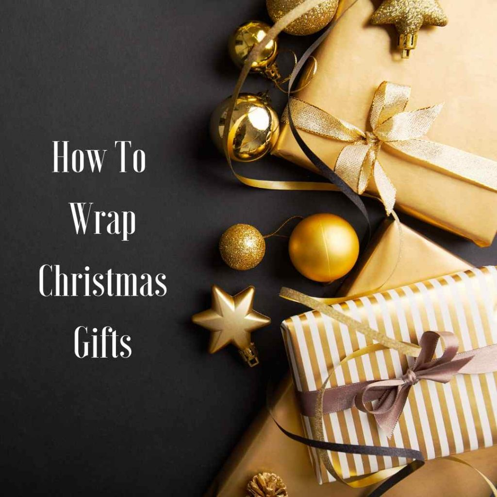 gold wrapped xmas presents with ribbon