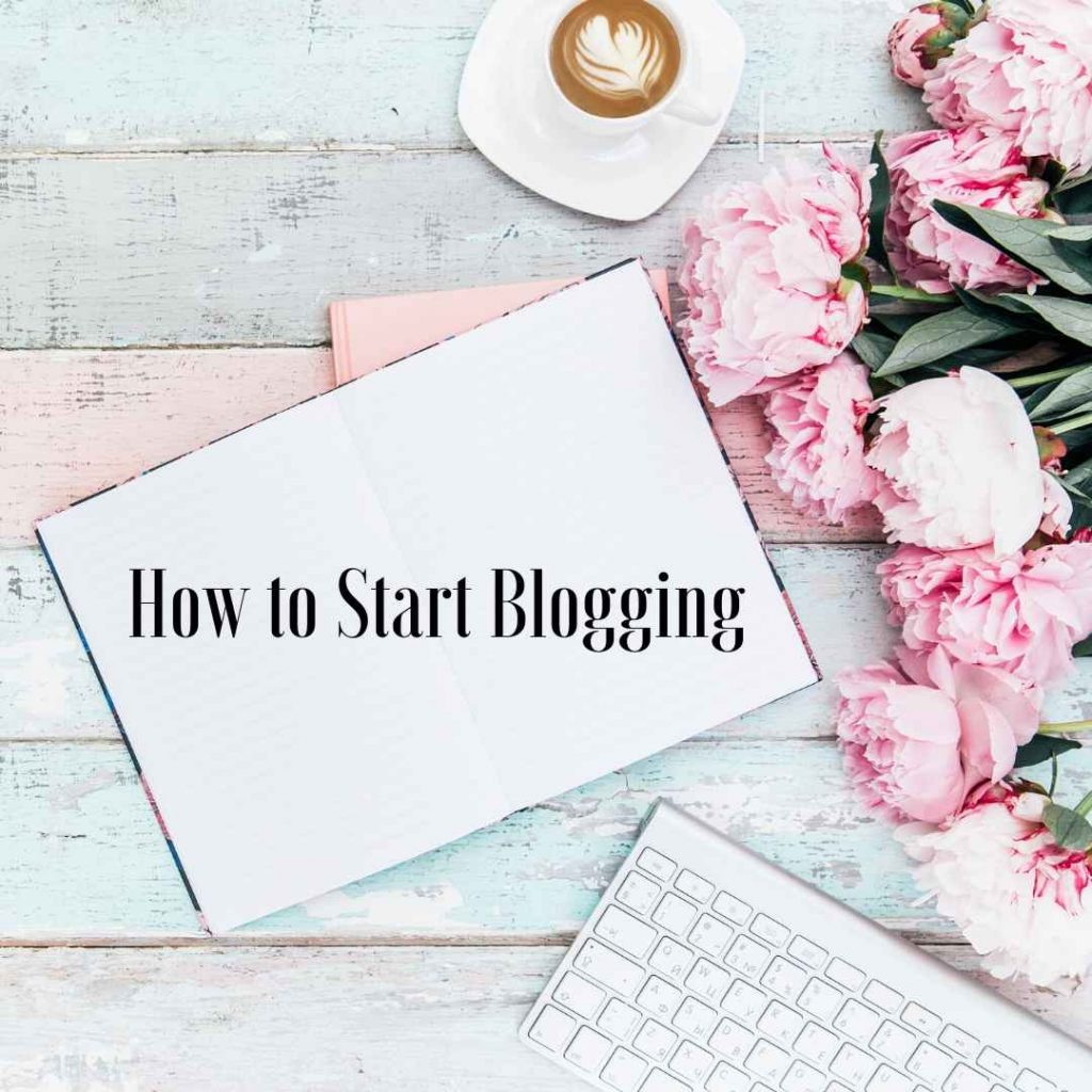 flat lay with laptop that says how to start blogging