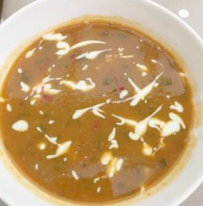 butternut squash soup in a bowl