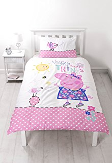 white wood floor white wooden slatted bed frame with a white bedside table and lamp and a multicoloured peppa pig duvet on it
